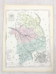 1881 Antique French Map Bourges Cher France Old Hand Coloured Engraving