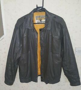 "Men's Smart Yellow Cab Grey Leather Jacket VGC Uk 42"""