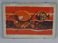 LITHOGRAPHIE EPREUVE D'ARTISTE FREDERIC MENGUY POISSON ORANGE ROUGE B819