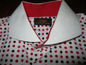 Steven Land Size 17.5 36/37 TALL White Black RED Polka Dot Shirt French Cuffs