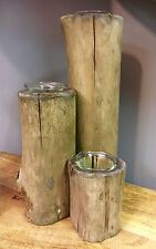 Set 3 Handcrafted Rustic Diftwood Wood Wooden Candle Holders Candlestick NEW