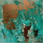 abstract art painting Emerald Copper Foil Green Teal Canvas Original Modern 8x8