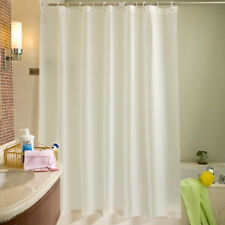 AU Crisp White/purple/beige Fabric Shower Curtain 2m*3m With 12 Hooks