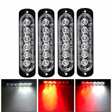 6 LED Light Bar Flash Emergency Car Vehicle Warning Strobe Flashing Red & White