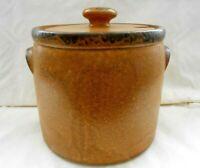 """Vintage McCoy Pottery Large Bean Pot #1424 Stoneware 4 Quart Crock w/Lid 7"""" w2s3"""