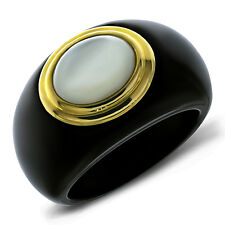 Genuine 14K Yellow Gold Mother of Pearl and Black Onyx Ring, Size 5-10
