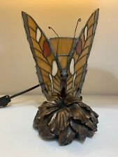 """9"""" Butterfly Tiffany Style Stained Glass Lamp Night Light Dual Brightness"""