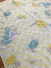 Vintage Baby Receiving Blanket 50s Yellow Gingham Fleece Bunny Duck Spring AH