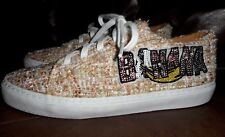 Zara Sneakers Tan Pink Gold Tweed Banana Patch Sequined Lace Up Shoes US 5.5
