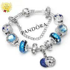 Authentic Pandora Charm Bracelet Silver Blue LOVE STAR with European Charms