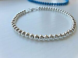 Women 925 sterling silver 4mm ball Beads bracelet stacker friend gift UK seller