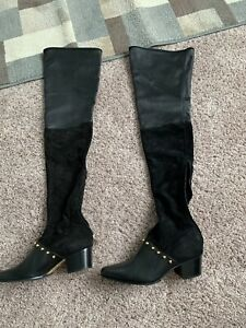 NEW BALMAIN Billie Leather/Suede Over The Knee Otk Thigh High Boots Sz 40 USA 10