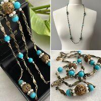 Vintage Czech Filigree Necklace Blue Art Glass 1920s 1930s Art Deco Long Flapper