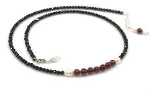 "Black Spinel & Almandine Garnet Necklace Sterling Silver 3 mm 18"" Birthday 07"
