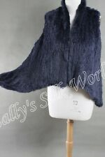 NEW 100% RABBIT FUR SWING VEST NAVY BLUE Free P &P