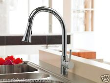 Chrome Finish Single Handle Lever Mixer Tap Spout Spray Pull Out Kitchen Faucet