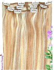 Clip en Remy 100% cabello humano Real extensiones media cabeza Honey Blonde Mix 27/613 #