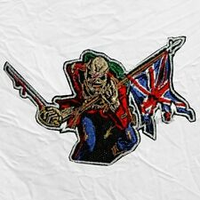 Iron Maiden The Trooper Logo Embroidered Patch Cover Eddie with UK Flag & Sword