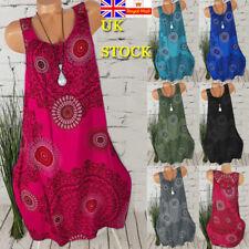 Plus Size Women Retro Boho Round Neck Mini Dress Summer Beach Loose Tunic Dress
