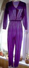 Vintage 70s Disco Purple Sheer Nylon Femine Sexy Jumpsuit Pants Usa S-M