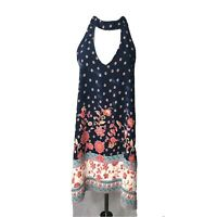 Newbury Kustom Ladies Dress Sz S Border Print Navy Floral Sleeveless Open Back