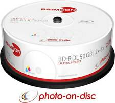 25 Primeon 2761319 Printable Blank Blu Ray DL BDR Discs 50GB 2x - 8x Ultra Speed