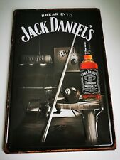 BREAK INTO JACK DANIELS OLD NO7 EMBOSSED TIN SIGN NEW