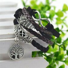 leather Bracelet Women men Amazing Wrist Vintage Retro Tree of life Owl Infinity