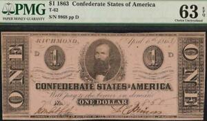 UNC 1863 $1 BILL CONFEDERATE STATES CURRENCY CIVIL WAR NOTE MONEY T-62 PMG 63