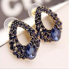 New Elegant Navy Blue Crystal Rhinestone Dangle Water Drop Stud Earrings Fashion