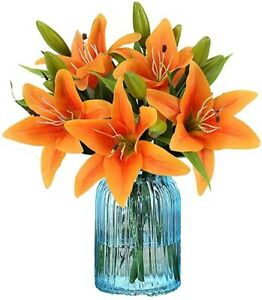Artificial Tiger Lily Latex Real Touch Flower Home Wedding Party Decor