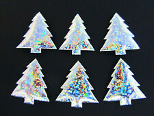 50 Silver Hologram Shimmer Holiday Applique/bow/trim/padded L28-Christmas Tree