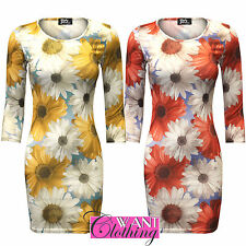 Unbranded Women's Floral 3/4 Sleeve Stretch, Bodycon Dresses