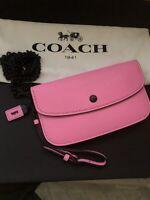 NWT Coach 👛1941 CLUTCH Crossbody Black Chain Glove Tan Leather NEON 👛Pink $225