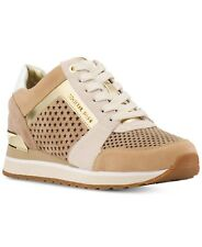Michael KORS BILLIE PERFORATED LIGHT KHAKI GOLD Sexy Logo Sneakers I LOVE SHOES