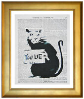 BANKSY YOU LIE RAT ART PRINT ON OLD ANTIQUE ENCYCLOPAEDIA & DICTIONARY BOOK PAGE