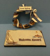 Dollhouse miniature Gone Sailing wreath & Welcome Aboard welcome mat,front door