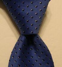 BLACK BROWN 1826 Men's Silk/Cotton Necktie Designer Geometric Blue/White NWT $59