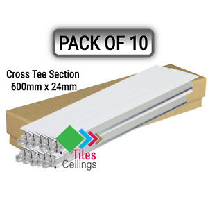 10x White Cross Tee Section, 600mm x 24mm, Suspended Ceiling Grid System T600