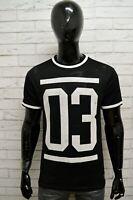 Maglia DIVIDED Uomo Taglia Size L Maglietta Shirt Man Manica Corta Nero Slim Fit