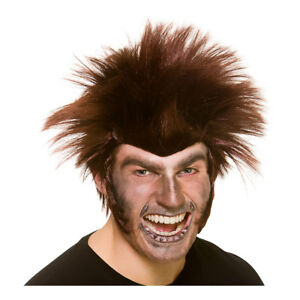 Midnight Werewolf Wig Mens Halloween Brown Wolf Fancy Dress Wig
