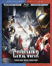 Captain America Civil War 3D Blu-ray, Blu-ray, Digital HD, 2-Disc Set BRAND NEW