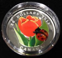 2011 $20 FINE SILVER COIN - TULIP WITH VENETIAN GLASS LADYBUG WITH COA & BOX
