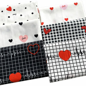 Heartbeat Tartan Printed 100% Cotton Fabric Squares Bundles By the metre Crafts