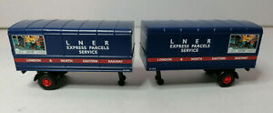 2 x Oxford 76MH004T LNER Express Parcels Service Trailers 1:76 Scale OO Gauge
