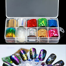 10PCS Mixed Colors Nail Art Transfer Foil Sticker for Nail Tips Decoration