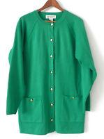 Vtg Argenti Cardigan Long Sleeve Wool Blend Green Pockets Size 10