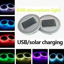 Pair 68mm Round Solar+USB Charging Car Cup Holder Bottom 7 Color RGB LED Lights