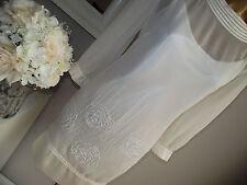 MONSOON IVORY FLORAL ROSE SEQUIN BEAD EMBELLISHED BRIDAL WEDDING TUNIC DRESS 14