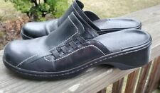 Clarks Womens Clogs Size 8.5M Style# 75255  Black  Leather Mules, Lattice Nice!